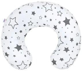 NEW BABY | New Baby Csillagok | Szoptató párna New Baby szürke csillagok | Fehér |