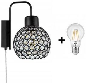 Crystal Ball fali lámpa kapcsolóval fekete1x E27 + ajándék LED izzó