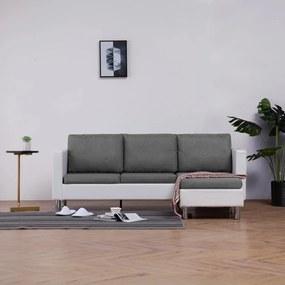 Háromszemélyes fehér műbőr kanapé párnákkal