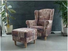 Füles fotel puffal, szövet vintage minta, ASTRID