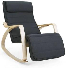 SONGMICS hintaszék, relaxációs szék, 5 fokban állítható lábtartó, váz masszív nyírfából, 150 kg-ig terhelhető, szürke