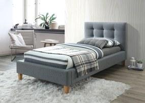 Kárpitozott ágy TEXAS 90 x 200 cm szürke Matrac: Matrac nélkül