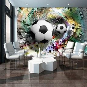 Fotótapéta - Futball-labdák egy 3D-s puzzle alagútban (254x184 cm)