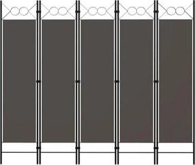 Antracitszürke 5 paneles paraván 200 x 180 cm