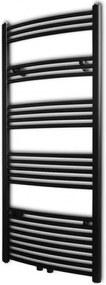 Fekete fürdőszobai törölközőszárító radiátor központi fűtéssel ívelt 600 x 1424 mm
