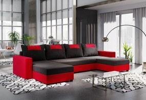COOPER U ágyazható sarok ülőgarnitúra, 298x144, fekete/piros, mikrofáze 04/U022