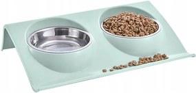 ISO Dupla tál kutyáknak és macskáknak, rozsdamentes acél, 2x350ml, 14143