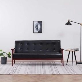 vidaXL háromszemélyes fekete műbőr kanapé