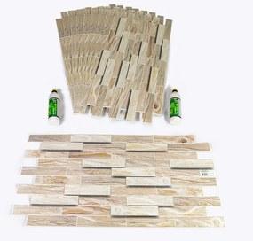 3D PVC falpanel Fehérített tölgy mintás, csomag (10 db+ragasztó)
