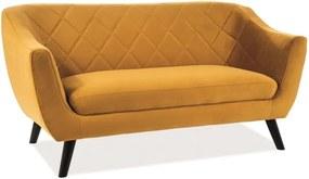 Kétszemélyes kanapé, mustár bársony / wenge, MOLLY 2 VELVET