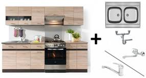 Konyhabútor sor 240 cm Sonoma tölgy + Franke mosogató + csaptelep + szifon
