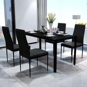 5 darabos fekete étkezőasztal szett