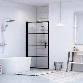Fekete edzett üveg zuhanyajtó 91 x 195 cm