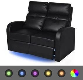 vidaXL LED 2 személyes műbőr dönthető támlájú fotel fekete