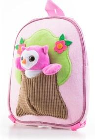G21 plüss baglyos hátizsák, rózsaszín
