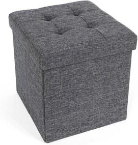 SONGMICS pad, ülés tárolóval, ülőkem, puff, 38 x 38 x 38 cm sötétszürke