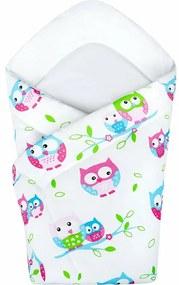 New Baby Baglyok gyermek pólya, fehér, 75 x 75 cm