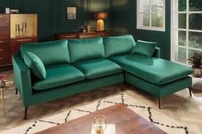 Sarok ülőgarnitúra Lena 260 cm smaragdzöld bársony