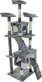 Funfit XXL 5 szintes macska kaparófa, játszóház - szürke