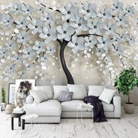 Fotótapéta - Fa és szürke virágok (254x184 cm)