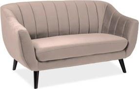 Kétszemélyes kanapé, bézs/wenge ELITE 2 VELVET