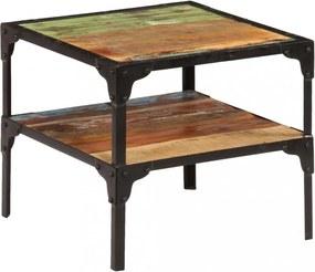 Tömör újrahasznosított fa kisasztal 45 x 45 x 40 cm