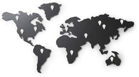 MAPPIT Világtérkép alakú mágnesestábla, Üzenőfal,  Kitűző tábla, Fekete, Fém