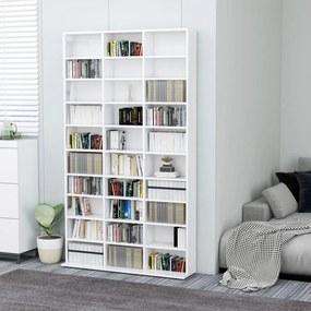 vidaXL magasfényű fehér forgácslap CD-tartó szekrény 102x23x177,5 cm