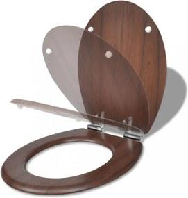 Lassan csukódó egyszerű tervezésű barna mdf wc-ülőke