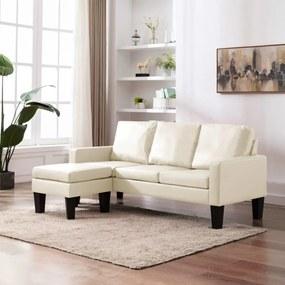 Háromszemélyes krémszínű műbőr kanapé lábzsámollyal