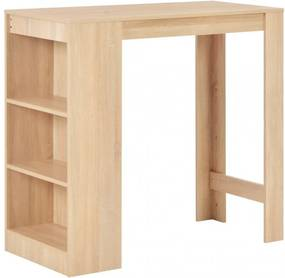 Tölgyfa színű bárasztal polccal 110 x 50 x 103 cm