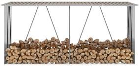 vidaXL barna horganyzott acél kerti tűzifatároló 330 x 84 x 152 cm