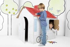 Gyerek karton házikó kéményel