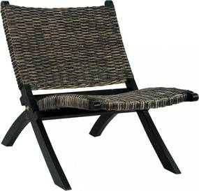 Fekete természetes kubu rattan és tömör mahagóni pihenőszék
