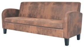 vidaXL háromszemélyes barna művelúr kanapé