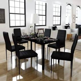 7 darabos  fekete étkező asztal szett