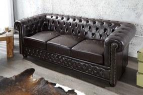 Hármas ülőgarnitúra Chesterfield sötét barna - raktáron