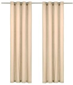 vidaXL 2 db bézsszínű pamutfüggöny fémgyűrűkkel 140 x 245 cm
