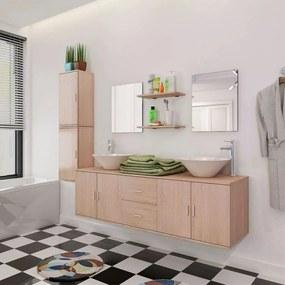 vidaXL 11 részes fürdőszobabútor szett mosdótállal és csappal bézs