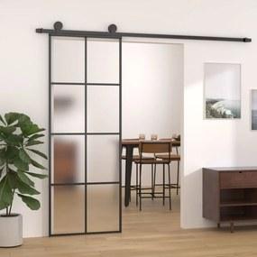 Fekete alumínium és esg üveg tolóajtó 76 x 205 cm