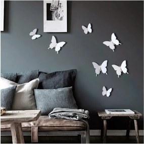 Diamond Butterflies 12 db-os fehér 3D hatású falmatrica szett - Ambiance