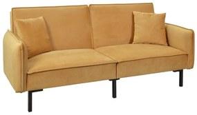 2 személyes kinyitható kanapé, 2 párnával, mustársárga - SAFRAN