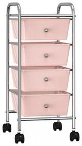4 fiókos mozgatható rózsaszín műanyag tárolókocsi