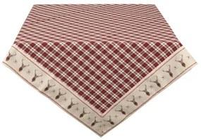 Skandináv rénszarvas piros kockás Asztalterítő pamut Cosy Lodge / 150x150 cm