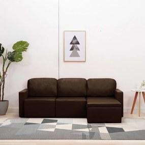3-személyes barna műbőr elemes kanapé