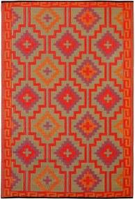 Lhasa Orange & Violet narancssárga-lila kétoldalas kültéri szőnyeg újrahasznosított műanyagból, 90 x 150 cm - Fab Hab