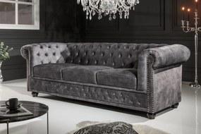 CHESTERFIELD szürke bársony kanapé
