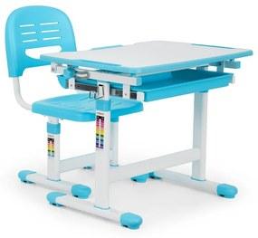 Tommi gyerek íróasztal, kétrészes készlet, asztal, szék, állítható magasságú, kék