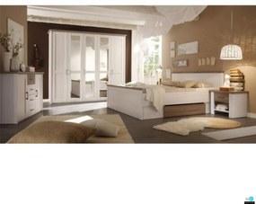 Hálószoba bútor készlet (ágy, 2 éjjeliszekrény, szekrény), pínia fehér
