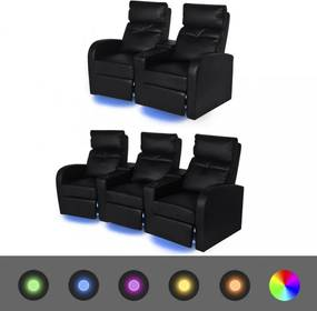 2 db dönthető támlájú led-es műbőr fotel 2+3 személyes fekete
